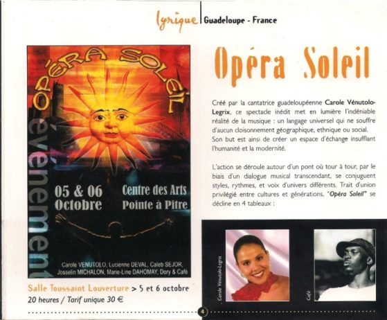 concert guadeloupe - opera soleil