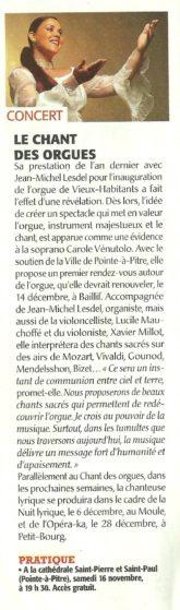 Le chant des orgues - concert guadeloupe
